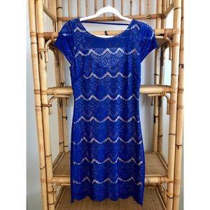 Bebe Open Back Blue Lace Cocktail Dress
